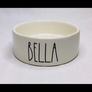 "Rae Dunn ""BELLA"" White small pet bowl"